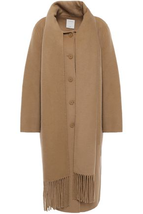 SANDRO Draped fringe-trimmed wool and cotton-blend felt coat