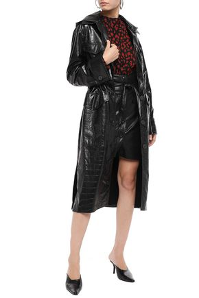 NANUSHKA Gus croc-effect vegan leather hooded trench coat