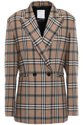 SANDRO Double-breasted checked crepe blazer
