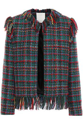 SANDRO Fringe-trimmed tweed jacket