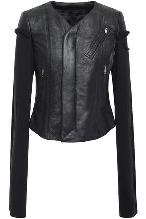 RICK OWENS Rib-paneled textured-leather jacket