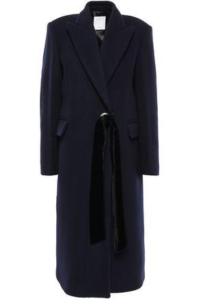 SANDRO Belted wool-blend felt coat