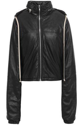 RICK OWENS Leather hooded jacket