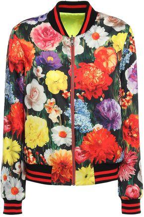 ALICE + OLIVIA Floral-print satin bomber jacket