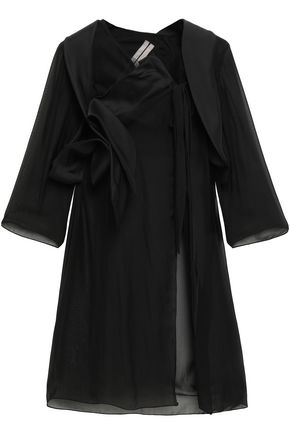 RICK OWENS Draped paneled silk-organza, voile and tulle jacket