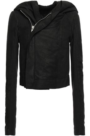 RICK OWENS Asymmetric leather hooded jacket