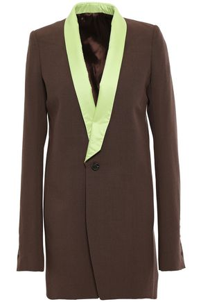 RICK OWENS Shell-trimmed wool-crepe blazer