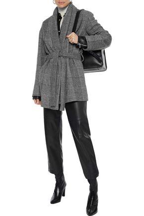 Iro Coats IRO WOMAN CHECKED WOVEN COAT GRAY