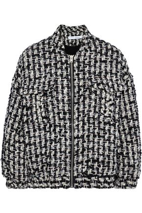 IRO Switch faux pearl-embellished metallic bouclé-tweed bomber jacket