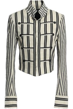 ANN DEMEULEMEESTER Arion knotted striped cotton-blend twill jacket