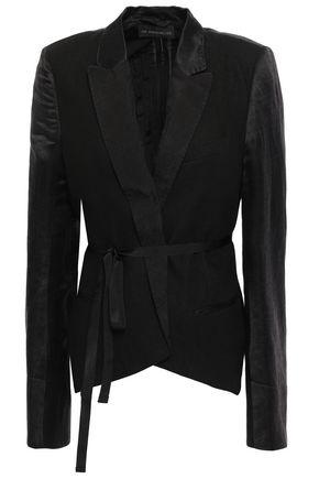 ANN DEMEULEMEESTER Satin-trimmed hemp-jacquard blazer