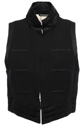 ANN DEMEULEMEESTER Satin and twill-paneled cotton and linen-blend vest