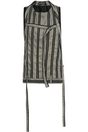 ANN DEMEULEMEESTER Belted striped twill top