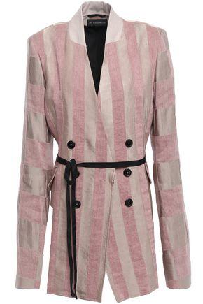 ANN DEMEULEMEESTER Belted striped linen-blend jacquard blazer