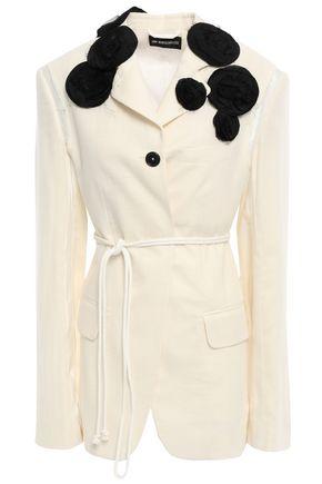 ANN DEMEULEMEESTER Floral-appliquéd cotton-gauze blazer