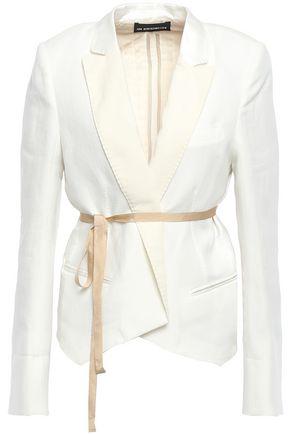ANN DEMEULEMEESTER Paneled cotton and linen-blend satin and twill blazer