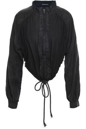 ANN DEMEULEMEESTER Asymmetric gathered crepe-jacquard jacket
