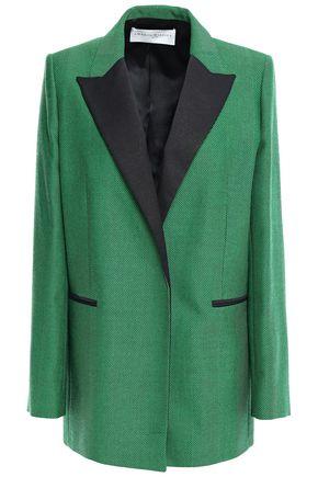 AMANDA WAKELEY Satin-trimmed herringbone wool-jacquard blazer
