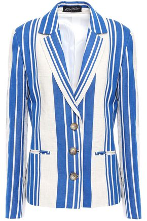 ANNA OCTOBER Striped linen and cotton-blend blazer