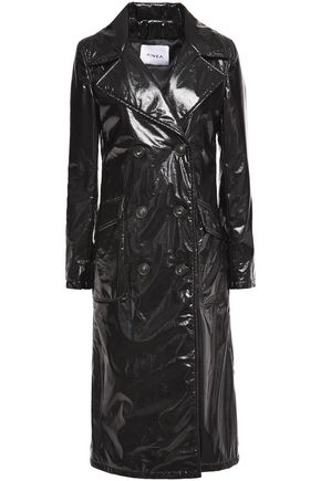 AINEA Cracked-vinyl trench coat