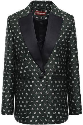 ALEXACHUNG Satin-trimmed jacquard blazer