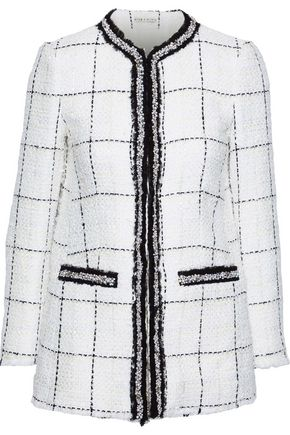 ALICE + OLIVIA Indira embellished checked tweed jacket