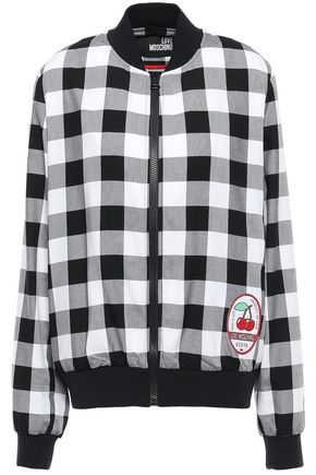 LOVE MOSCHINO Appliquéd gingham twill bomber jacket