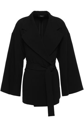 THEORY Belted stretch-crepe jacket