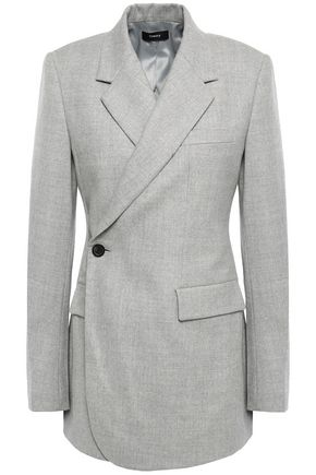 THEORY Double-breasted mélange wool-blend flannel blazer