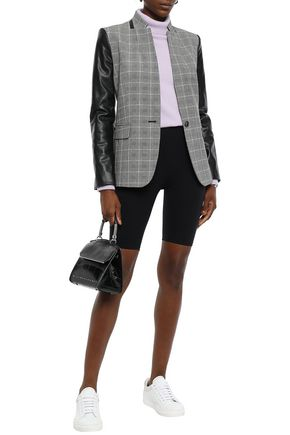 DKNY Faux leather-paneled checked stretch-woven blazer