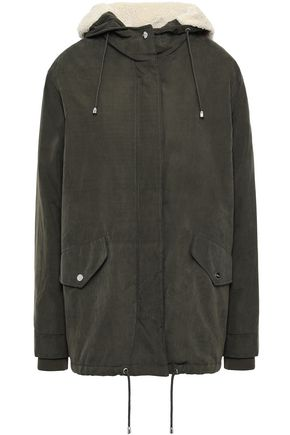 DKNY Washed sateen hooded jacket