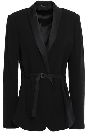 THEORY Belted satin-trimmed crepe blazer