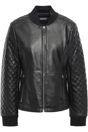DKNY Quilted faux leather bomber jacket