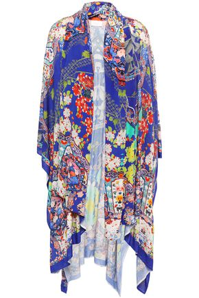 CAMILLA Paneled printed silk crepe de chine and knitted coverup