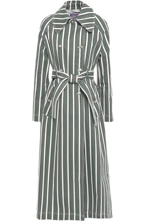 ALEXACHUNG Double-breasted striped denim trench coat