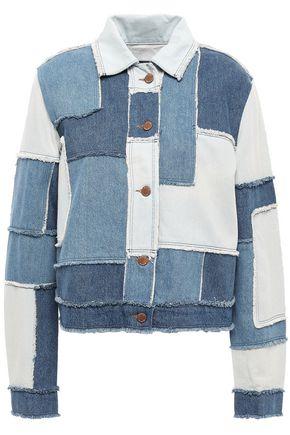 LOVE MOSCHINO Patchwork frayed denim jacket
