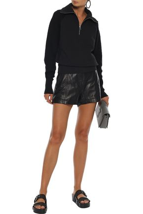 Helmut Lang Ribbed Knit-paneled French Cotton-terry Sweatshirt In Black