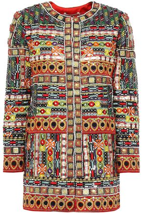 ALICE + OLIVIA Embellished embroidered silk jacket
