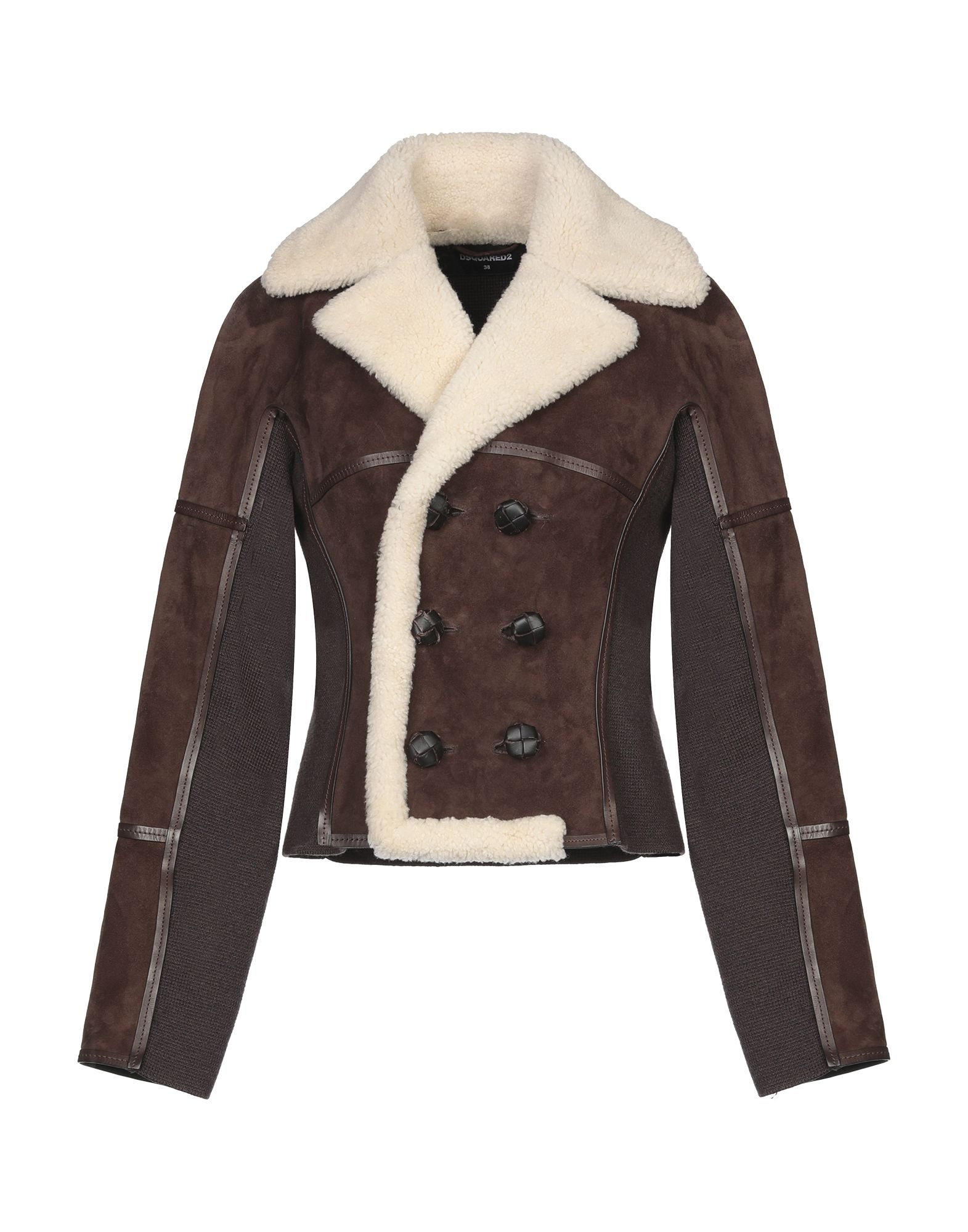 DSQUARED2 Jackets. leather, knitted, suede effect, no appliqués, double-breasted, button closing, lapel collar, no pockets, long sleeves, unlined, solid color, contains non-textile parts of animal origin. 100% Shearling, Virgin Wool