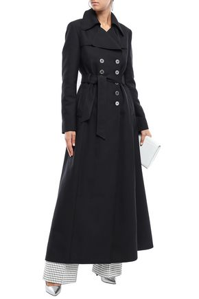 Giambattista Valli Woman Belted Woven Trench Coat Black