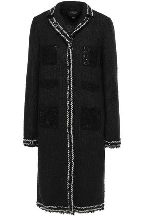 GIAMBATTISTA VALLI Guipure lace-paneled sequin-trimmed bouclé coat