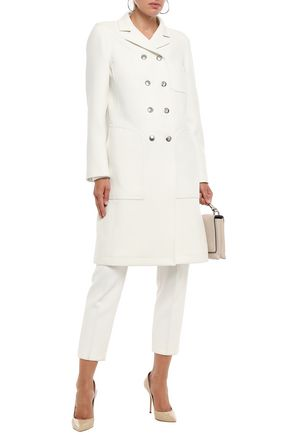 Giambattista Valli Woman Double-Breasted Twill Coat Ecru