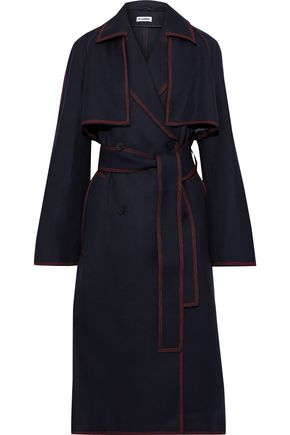 JIL SANDER معطف واقٍ من المطر من الغبردين الصوفي مزوّد بحزام