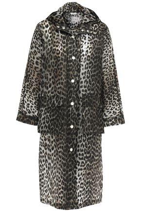 GANNI Leopard-print PVC hooded raincoat