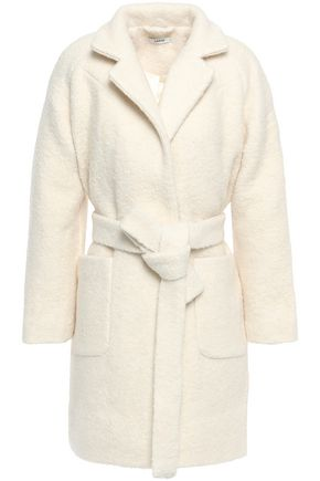 GANNI Fenn belted wool-blend bouclé  coat