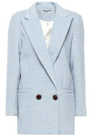 GANNI Woodside double-breasted Prince of Wales checked wool-blend blazer