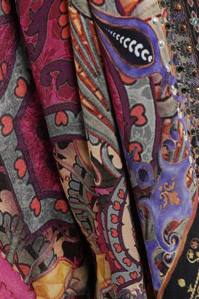 CAMILLA ジャージーパネル 装飾付き プリント シルククレープデシン キモノ
