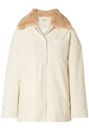 GANNI Ridgewood faux fur-trimmed cotton-blend corduroy jacket