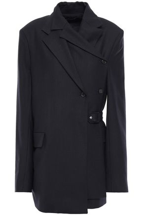 ROKH Double-breasted layered twill wrap jacket