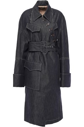 ROKH Button-detailed denim trench coat